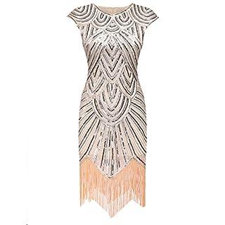 AIMADO Damen Gatsby 1920er Flapper Kleid, Diamant Pailletten Verschönert, Beige, EU 42 (Herstellergröße XL)