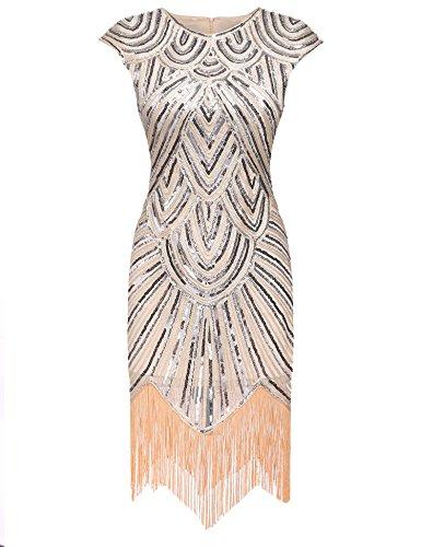 AIMADO Damen Gatsby 1920er Flapper Kleid, Diamant Pailletten Verschönert, Beige, EU 42...