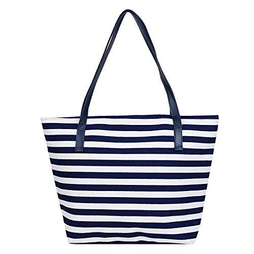 DonDon Borsa da spiaggia, Rot - Weiß (Multicolore) - BBAG17 Blu - bianco