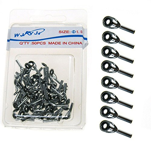 50 Pcs Fishing Rod Guide Guides Tip Tops Replacement Repair Kit 1.5mm Stainless Steel & Ceramic Eye Ring Tip Tops Rod