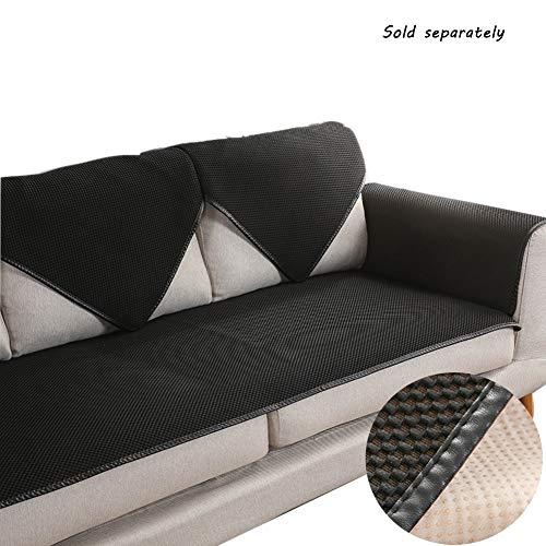 Schwarze Leder Schnitt Couch (Love House Schnitt Sofa Überwurf, Einfarbig Anti-rutsch Schonbezug Sofa Sofabezug Mit Leder Edging,atmungsaktive Sofa Sofa Throw Für Pet-schwarz 50x100cm(20x39inch))