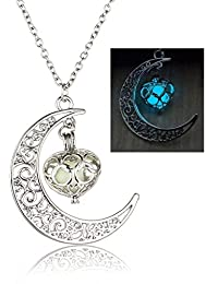 Young & Forever valentine gifts special Trendsetter Collection Glow-In-The-Dark Fairy Frozen Tear Natural Concept Silver Necklace Pendant for women / Girls