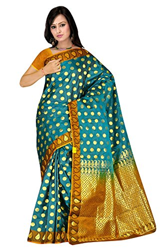 Sehgall Sarees Professionally Designed Indian Ethnic Handloom Pure Silk Saree with Lining Pallu Blue
