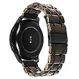 TRUMiRR Für Garmin Vivoactive 3 Armband, 20mm Naturholz & Edelstahl Armband Quick Release Uhrenarmband für Ticwatch E, Samsung Gear Sport