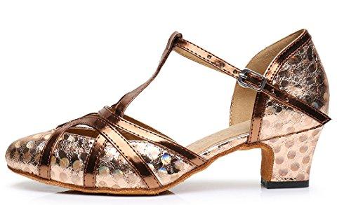 F&M Fashion ,  Damen Durchgängies Plateau Sandalen mit Keilabsatz 5cm Printing Brown