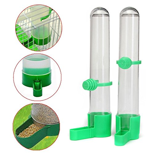 Moppi 2Pcs Bird Drinker Parrot Food Feeder Watering Clip Aviary Budgie Lovebirds Canary Test