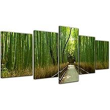 """Bilderdepot24 Cuadros en Lienzo """"Bosque de bambú en Arashiyama - Japón"""" 200x80 cm 5tlg - listo tensa, directamente desde el fabricante"""