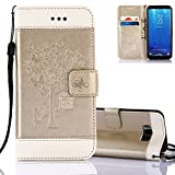 Aeeque Galaxy S8 Case Fold, Premium PU Leather Flip Stand Function Magnetic Clasp Wallet Holster and Beautiful Girls Butterfly Tree Pattern for Samsung Galaxy S8 5.8 inch - Gold and White