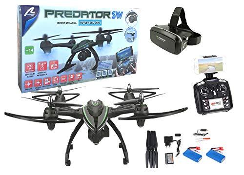 Outletdelocio Drone radiocontrol Grande con cámara Predator FPV WiFi + Gafas VR. Pilota como si estuvieras Dentro del Drone. 2 baterias Incluidas