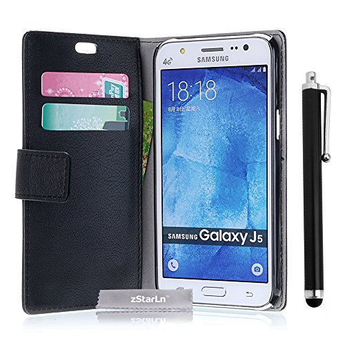 zStarLn® schwarz Hülle Leder Tasche für Samsung Galaxy J5 SM-J500F Hülle Handytasche Zubehör Schutzhülle Etui + Stylus pen und 3 Films Schutzfolie
