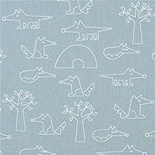 Tissu bio Copenhagen Print Factory gris-vert avec des renards, des arbres