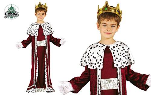 Guirma Gaspare Costume Bambino Re Magio, Colore Rosso e Bianco, 5-6 Anni, 42426