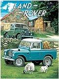 Land Rover Pick Up, Cab, plat lit. Hay ballots de paille, mouton de batterie de serveurs. MK1 MK I MK2 MKII. Bleu et vert Pour maison, maison, garage, ferme, pub et barre Métal/Panneau Mural Métalique - 30 x 40 cm