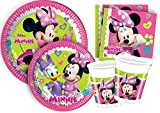 Ciao Y4383 - Kit Party Tavola Minnie 'Happy Helpers' per 24 persone 24 piatti carta Ø23cm, 24 piatti carta Ø20cm, 24 bicchieri plastica 200ml, 40 tovaglioli carta 33x33cm)