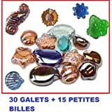 Jeu de Plein air - 30 galets + 15 billes plates offertes : Galets en verre forme aléatoire. idée de décoration
