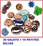 Natursport–30Galets + 15Kugeln Flache gratis: kiesel aus Glas Form aléatoire. Dekorationsidee