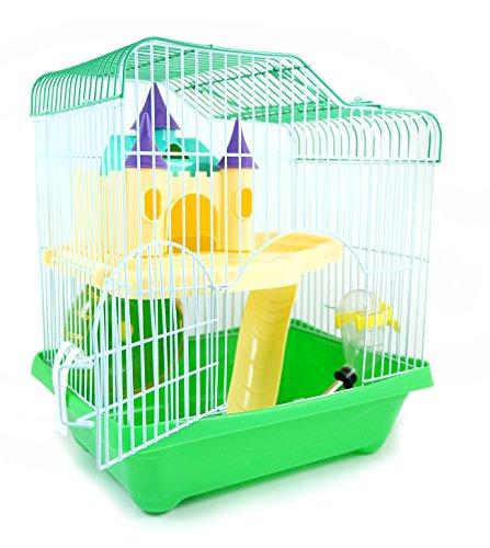 BPS® BPS-1340 Cage pour hamster avec maisonnette, tunnel et escalier 28 x 21 x 31 cm Couleur aléatoire, vert