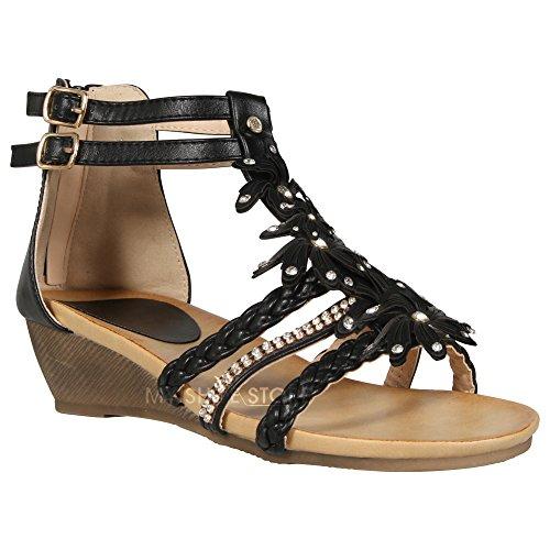 donne Gladiatore Strappy sandali estivi abito da sera party shoe diamante fiore floreale spiaggia chiusura a fibbia casual sandali tacco basso Mid scarpe Black
