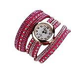 Vovotrade Femmes Modus Lässige Armband En Cuir Montre-Armband Femmes Robe_Hot Pink