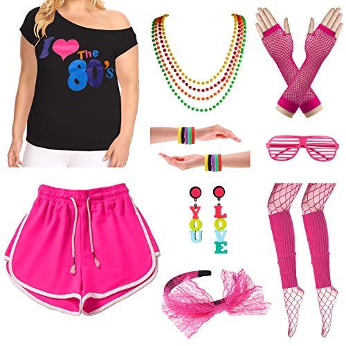 Plus Size Frauen 10 Stück Rock Star Ich Liebe die 80er Jahre T-Shirt Outfit Kostüm Set (3X/4X, Hot Pink) (Plus Frauen Für Halloween-kostüme 3x-4x Size)