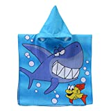 MOGOI Kinder Handtuch Poncho, Weiches Cartoon-Handtuch für Bad, Pool Strand, White Shark, 60x120cm
