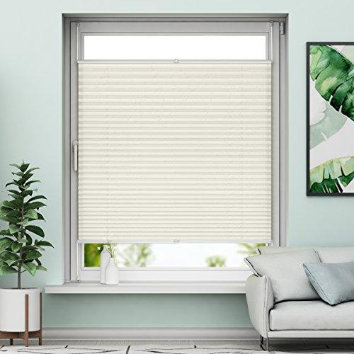 Beige Fenster (Plissee Klemmfix Verdunkelung Beige Jalousien Innen Ohne Bohren Rollos Für Fenster 40x130cm)