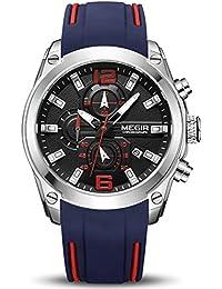 bec666b76aa MEGIR Men s Luminous Waterproof Chronograph Quartz Wrist Watch with Blue  Silicone Strap Auto Calendar (Blue