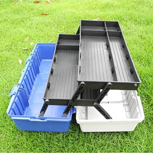 Toolkit Werkzeugkoffer Werkzeugkasten Stoßfestes drei Etagen Folding Hardware Toolbox Startseite Multi-Funktions-Auto-Reparatur-Fall Aufbewahrungsbox (Color : Blue, Size : 430x210x170mm)