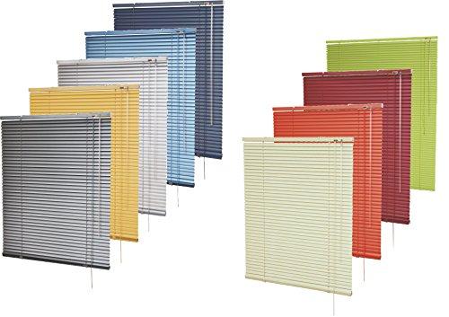 Alu-Jalousie in vielen Farben für Fenster und Türen / in Höhen von 150 cm, 170 cm und 240 cm / für Wand- und Deckenmontage (optional Klemmträger) - Auswahl: Farbe Blau-metal, Breite x Höhe 160 x 170 cm