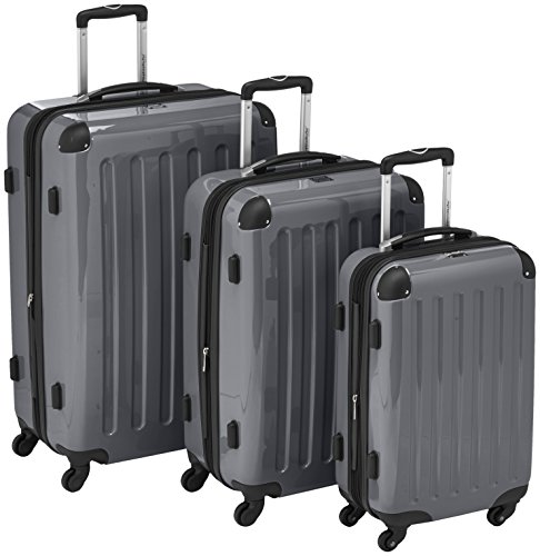 HAUPTSTADTKOFFER – Alex – Set of 3 Hard-side Luggages Glossy Suitcase Hardside Spinner Trolley Expandable (S, M & L) Titan