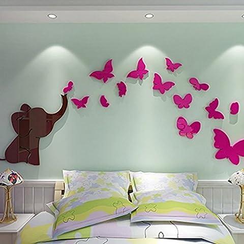 Alicemall Sticker Mural Salon Sticker éléphant 3d Autocollant Mural Chambre Enfant Décoration Murale
