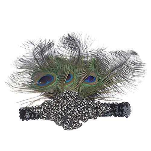 Federstirnband Feder Haarband 20er Gatsby Damen Kopfband Kopfschmuck Kostüm - Perücke Flapper Schwarzes