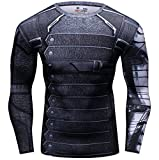 Cody Lundin® Uomo Sport Maglietta Winter Warrior Maniche Lunga Stretto Base Layer Palestra Muscolo (M)
