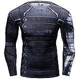 Cody Lundin® Uomo Sport Maglietta Winter Warrior Maniche Lunga Stretto Base Layer Palestra Muscolo (L)