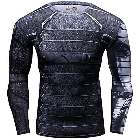 Cody Lundin® Homme T-shirt à manches longues Collants, T-shirt Soldat Bucky de Film Sport Fitness Running Exercice Shirt pour hommes (L, Soldat Bucky)