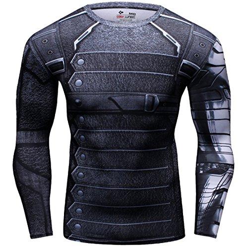 Winter Kostüm Krieger - Cody Lundin Herren Bequeme Krieger gedruckt Fitness Sport im Freien Stil Langarm T-Shirt, Color-b, L