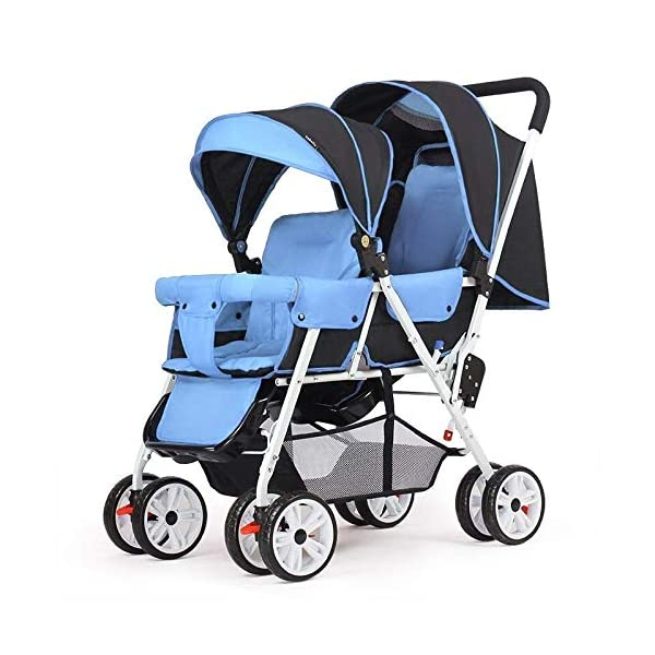 MYRCLMY Baby Double Stroller Double Pushchair,Twin Baby Strollers Lightweight Safety System Canopy UV Protection Independently Reclining Seats Easy Fold Extended Canopy/Large Storage Basket,blue  *SAFETY - this pushchair comes with 5-point belt, bumper bar, as well as parking brake. *MULTI-FUNCTIONAL - suitable from birth thanks to large, light and soft carrycot convertible to reversible seat unit with 5-point harness; large hood with mesh insert, height-adjustable push handle. *LIGHTWEIGHT - the light aluminium chassis can be folded always compactly for small cars; it is also easy to push thanks to front wheels swivelling at 360 degree and suspension. 1