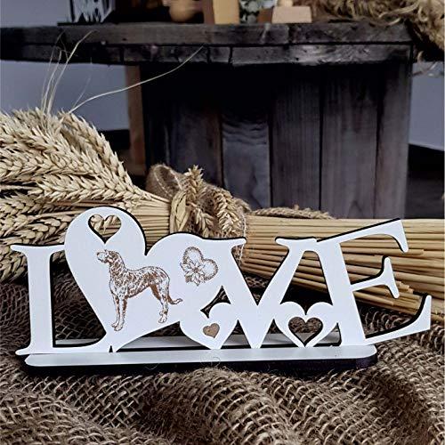 Deko Aufsteller LOVE mit Herzen und Hunde Motiv « IRISCHER WOLFSHUND » Größe ca. 20 x 8 cm - Dekoration Schild Home Accessoires - Liebe Herz Hund Hunderasse Irish Wolfhound -