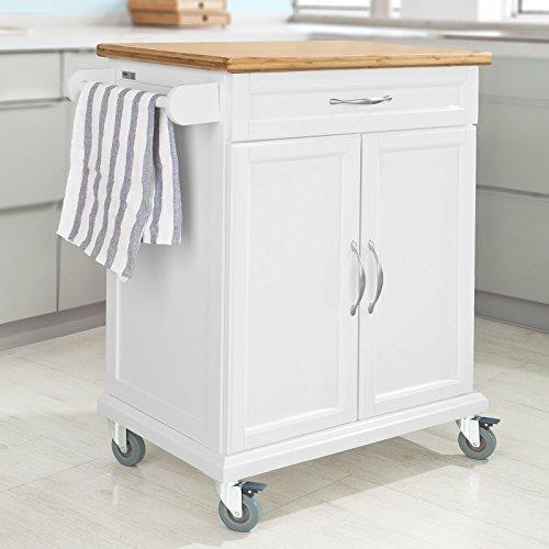 SoBuy® Carrello di servizio, Scaffale da cucina, Carrello multiuso, colore: naturale/bianco,FKW13-WN