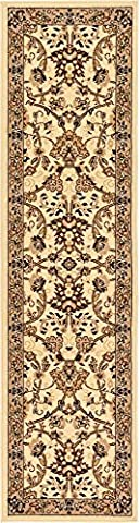 Country Traditional 2-Feet by 8-Feet (2' x 8') Runner Kashan Ivory Area Rug