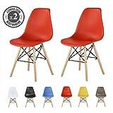 MCC Retro Design Stühle LIA im 2er Set, Eiffelturm inspirierter Style für Küche, Büro, Lounge, Konfernzzimmer etc, 6 Farben, KULT (rot)