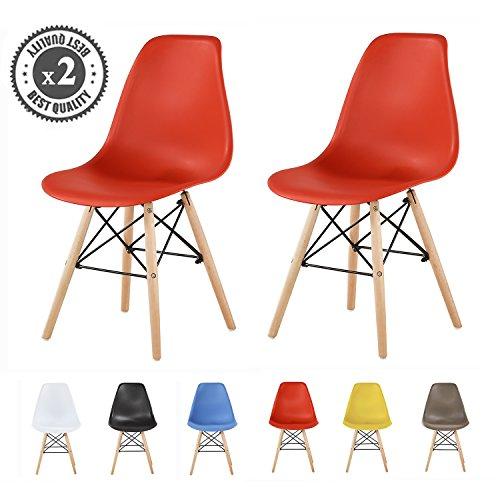 MCC Retro Design Stühle LIA im 2er Set, Eiffelturm inspirierter Style für Küche, Büro, Lounge, Konfernzzimmer etc, 6 Farben, KULT (rot) (Möbel Retro-küche)