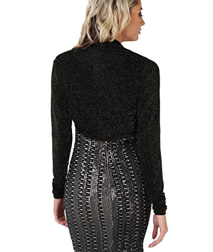 KRISP® Femmes Boléro Gilet Léger Soirées Différents Modèles Noir / Doré (9297)