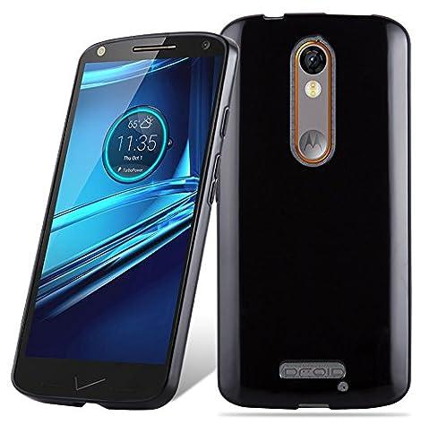 Cadorabo - Ultra Slim TPU Etui pour Motorola MOTO X FORCE Housse Gel (silicone) en Design 'AIR' - Coque Case Cover Bumper en NOIR