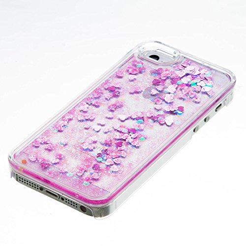 Voguecase® Pour Apple iPhone 5 5G 5S, Luxe Flowing Bling Glitter Sparkles Quicksand et les étoiles Hard Case étui Housse Etui(Triangle Quicksand-Argent) de Gratuit stylet l'écran aléatoire universelle Amour Quicksand-Pink