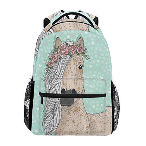 Wamika Rucksack mit niedlichem Pferdemotiv und Blumen, wasserfest, für Schule, Schulranzen, Gymnastikrucksack, Grün mit Blumenmuster - Pferde Schulter Tasche
