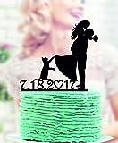 Décoration de gâteau de mariage avec chat Mr et Mrs avec chat mariée et marié Our Pets Cake Topper Our Pets Figurine de gâteau de mariage
