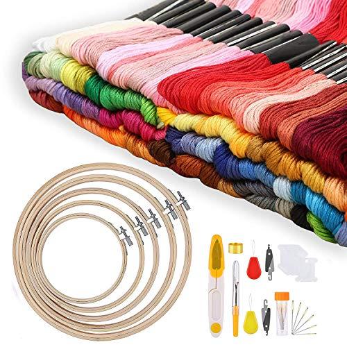 AFDEAL Kreuzstich Set Stickerei Set Stickerei Starter kit stickrahmen Set Einschließlich 100 Farbfäden 5 Bambus Stickrahmen 12 von 18-Zoll 14 Count Classic Reserve Aida und Nadeln Set