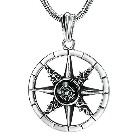Men's Stainless Steel Large Star Compass Biker Silver Fashion Pendant Necklace 4.3x4.3CM