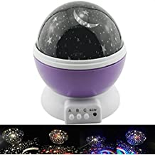 Tripcraft Luces Noche Luces De Proyector De Cielo Estrellado Adaptador USB 3AAA Rotación De Batería Luces De Sueño Colorido Decoraciones Preciosas Lámpara Proyector Sensorial Luz Para Niños Regalo Dormitorios De Bebé Luces (Púrpura)